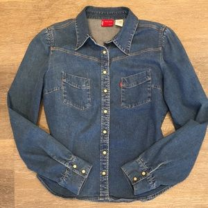 Levi's Quality Stretchy Denim Botton Down Jean Top